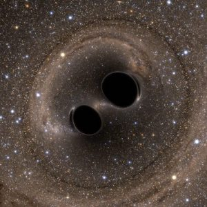 UM physicist Leo Stein has been researching Einstein's general theory of relativity, using signals from astronomical sources, with the most promising signals being gravitational waves, which are ripples in space and time. Gravitational waves have been detected as the result of the collision of a pair of black holes orbiting each other. Photo illustration courtesy of SXS Lensing, Simulating eXtreme Spacetimes Collaboration