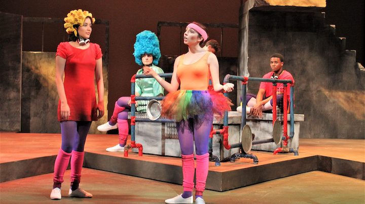 Meghan Tanaka (left), Chloe Busick, Quincey Huerter, Aidan Heydt and Allen Dillon portray actors re-creating a classic episode of 'The Simpsons' years after an ecological disaster has fractured society in Ole Miss Theatre's production of 'Mr. Burns, a post-electric play.' Photo by Katherine Stewart