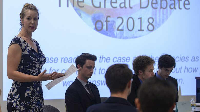 The UM Ethics Bowl team discusses the question, 'Should the standard of sexual consent be an affirmative verbal yes?' during last year's Great Debate. Photo by Marlee Crawford