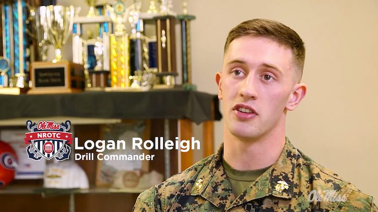 Logan Rolleigh is the drill commander of the UM Navy ROTC Drill Team, which will compete in the 'national championship' of drill competitions Friday (March 1).