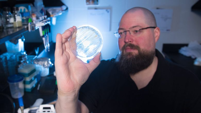 With funding from his International Space Station Flight Opportunity Award, UM biology professor Patrick Curtis will be sending bacteria from his lab to the ISS. Photo by Kevin Bain/Ole Miss