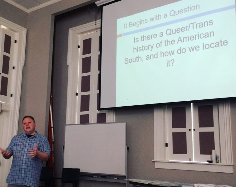 Burford giving a talk on IHP at the Center for the Study of Southern Culture in Oxford, MS. Southern Studies photo