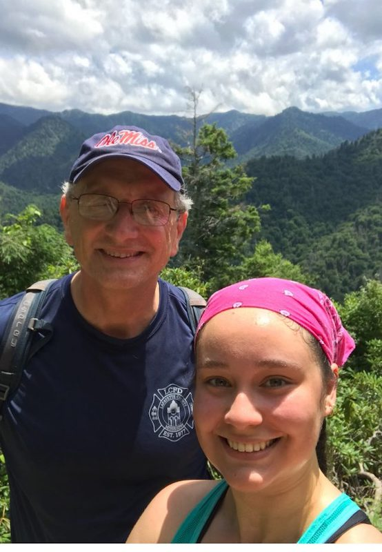 Douglass Sullivan González and his daughter, Renée, hike in the Great Smoky Mountains.
