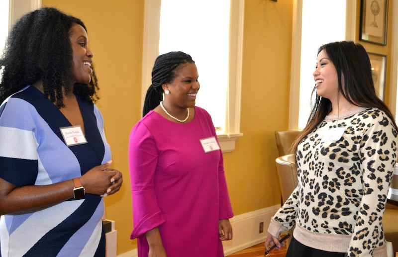 UM alumnae Nicole Tisdale (left) and Kim Dandridge discuss their career paths in government and the legal fields with English major Hannah Woods, of Yazoo City, during the recent 'Next Chapters: Career Networking with English Alumni' event. Alumni from a variety of fields returned to campus to discuss how their English degree is serving them in their careers and also shared tips and pointers for navigating the job market. Photo by Pam Starling/Division of Outreach