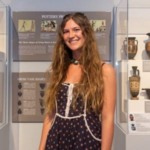 Greta Koshenina, a junior classics major at UM, is preparing to work this summer at the Poggio Civitate Archaeological Project in Vescovado di Murlo, Italy, followed by studies this fall at the Umbra Institute in Perugia. While on campus, she works at the University Museum. Photo by Dason Pettit/College of Liberal Arts