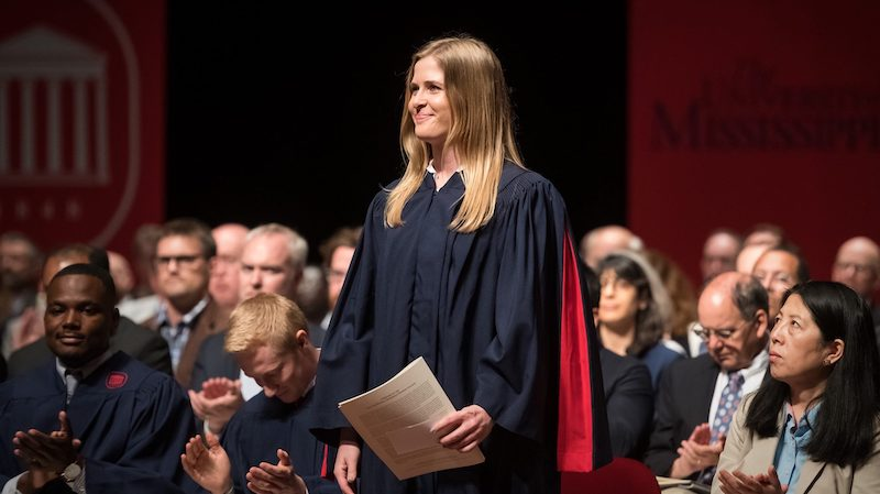 UM alumna Elaine Smith is recognized for her academic achievements during the 2019 Sally McDonnell Barksdale Honors College Spring Convocation.