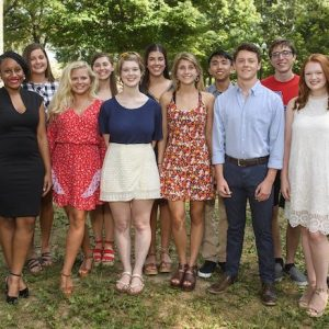 Douglass Sullivan-González (right), dean of the UM Sally McDonnell Barksdale Honors College, welcomes the 2019 cohort of freshmen scholars, including (front row, from left) Tristan Tran, Jilkiah Bryant, Anastasia Jones-Burdick, Gracie Bush, Vivienne McCracken, Ethan Lambert and Addison Pratt and (back row) Julianna French, Maren McSparin, Eva Kiparizoska, Peter Nguyen and Luke Davis. Photo by Thomas Graning