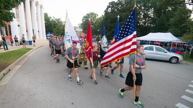 University of Mississippi ROTC cadets begin the 2018 9/11 Run in front of the Lyceum. Cadets will participate in the annual run at 8:46 a.m. Saturday (Sept. 14) to honor the nearly 3,000 victims of the Sept. 11, 2001 terrorist attacks on the United States. Photo by Kevin Bain