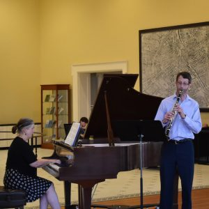 UM clarinetist Michael Rowlett and pianist Amanda Johnston preview material from their Faculty Recital Series concert, set for Sept. 23 in Nutt Auditorium, in the new noontime music series, 'First Tuesdays in Bryant Hall.'