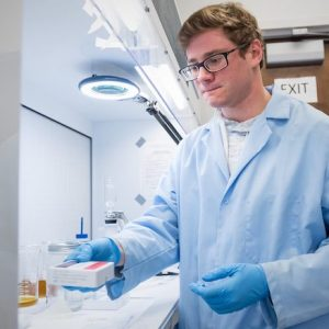 UM chemistry graduate student Austin Scircle, of Powell, Tennessee, works in chemistry professor James Cizdziel's lab researching microplastics. Photo by Megan Wolfe