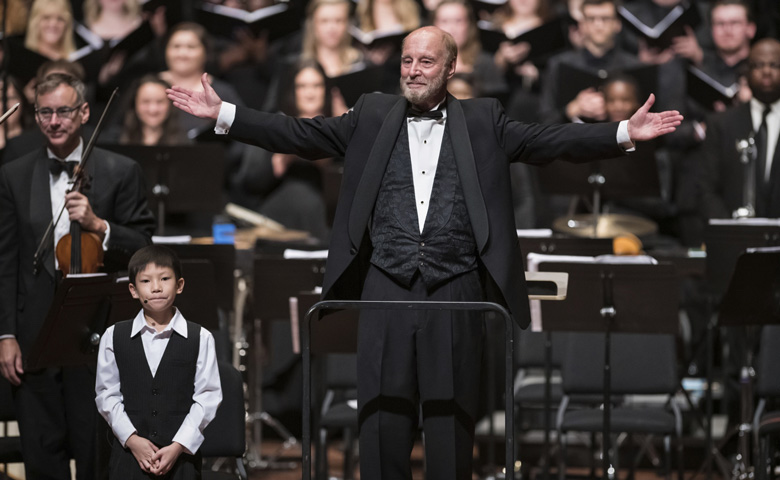 Dr. Dennis Shrock, noted choral-scholar and author of several books on historic performance and repertoire, will be the guest conductor and featured lecturer for three annual music symposiums focusing on historical performances at the University of Mississippi. Funded by the generosity of an anonymous donor, the symposiums will begin in the summer of 2020. Shrock is shown during his most recent visit to UM in the fall of 2018 as a guest conductor and lecturer at a concert celebrating the late composer and conductor Leonard Bernstein.