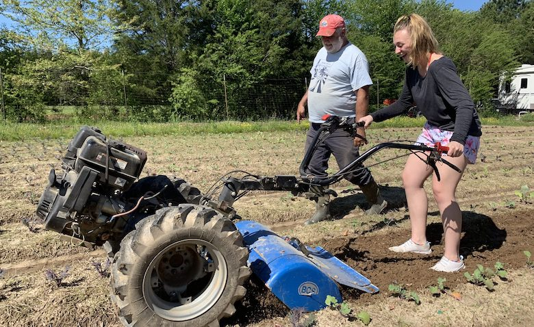 Ole Miss student Clementina Ferraro (right), a member of Emily Cooley's 'From Farm to Fork' LIBA 102 class, tries her hand at farming alongside Doug Davis, owner of Yokna Bottoms Farm. Photo by Emily Cooley