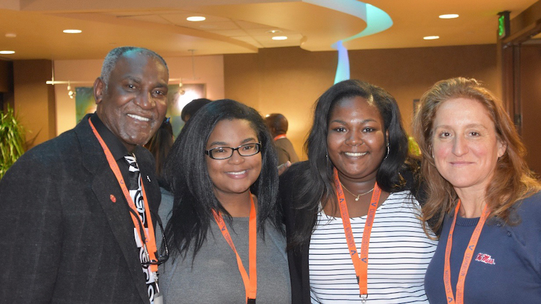 Donald Cole (left), former UM mathematics professor and special assistant to the chancellor, attends a research conference with UM McNair Scholars Victoria Robinson and Skylyn Irby, and Sandra Spiroff, an associate professor of mathematics at Ole Miss.