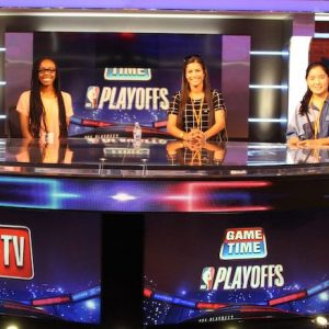 UM alumni organized a special tour of the TNT Sports Studio in Atlanta this summer for UM Internship Experience students, including (from left) junior psychology major Dyamon Brown, of Columbia; senior banking and finance major Diane Lim, of Suwanee, Georgia; and senior business major Lillian Salem, of Belden.