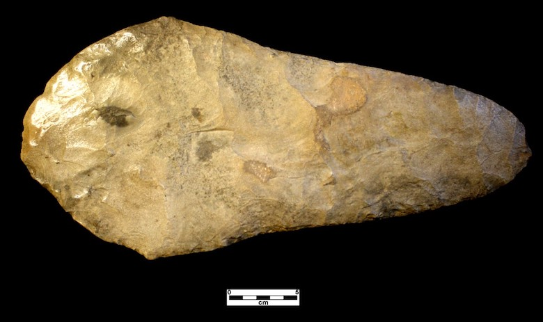 Hoe found in Coahoma County, Mississippi that is made from stone that came from southern Illinois. Theoe was probably used in agricultural fields of maize between AD 1200-1400. PHOTO: Tony Boudreaux
