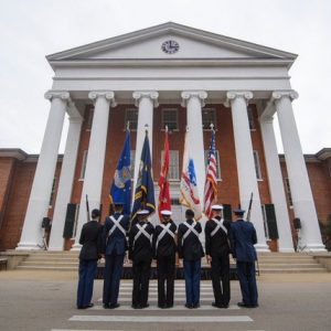 University of Mississippi ROTC cadets, midshipmen and Marines present the colors at the pass in review Thursday, Nov. 14, 2019 for UM Chancellor Glenn Boyce. Photo by Thomas Graning/Ole Miss