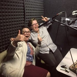 Professors Jaime Harker and Theresa Starkey in the recording studio