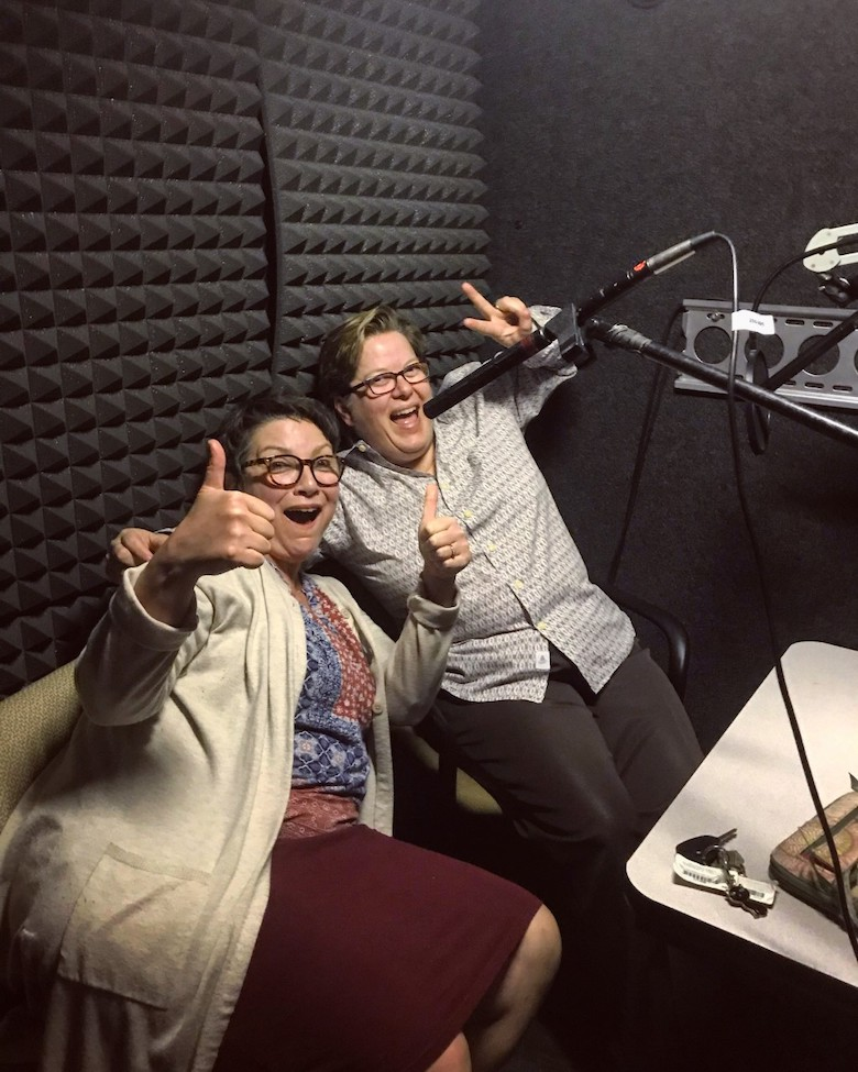 Professors Jaime Harker and Theresa Starkey in the recording studio