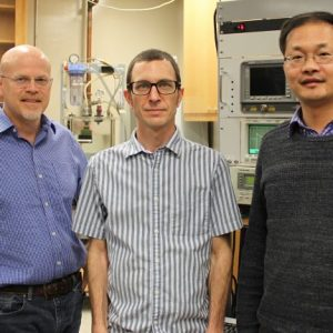 UM researchers Joel Mobley (left), Robert Lirette and Likun Zhang have published a Physical Review Applied paper announcing that they have sonically captured a droplet and moved it without any direct or mechanical contact using a technique called near-field acoustic tweezers. Photo by Shea Stewart/University of Mississippi