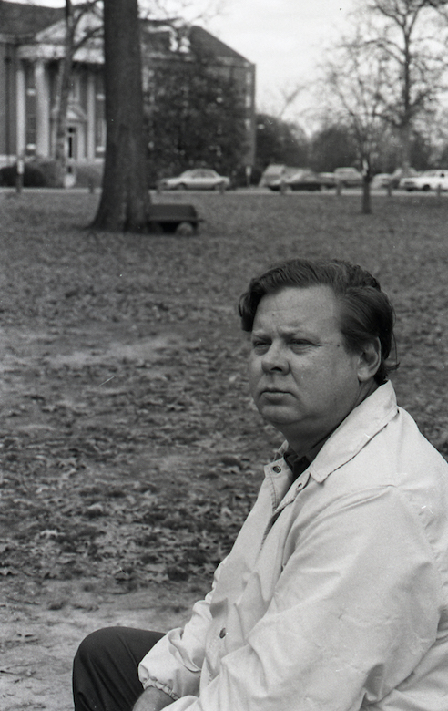 Willie Morris relaxes in the Grove at the University of Mississippi. Photo courtesy Bern and Franke Keating Collection, Southern Media Archive/University of Mississippi Library