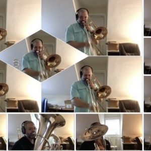 UM music professor Micah Everett plays several instruments for his arrangement of 'Rolling Thunder' that is part of the department's 'Midday Music' online series.