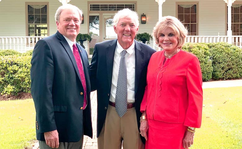 Louis Brandt, center, has become the inaugural emeritus board member of the University of Mississippi Foundation (UMF), an honor that reflects his longtime service to and support of his alma mater and the foundation. With him are, left, Wendell Weakley, UMF president and CEO, and Suzan Thames, UMF board chair.