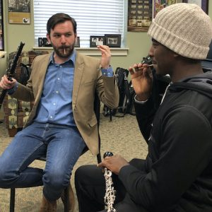 Music instructor Austin Smith works on double-reed methods with Ole Miss music student Michael Ivy. Photo courtesy Adam Estes