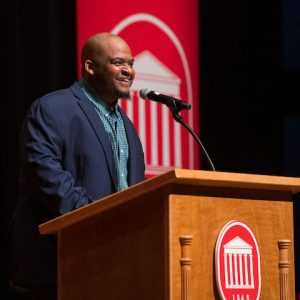 """Kiese Laymon has been named the inaugural holder of the Hubert H. McAlexander Chair of English created by the late Lester Glenn """"Ruff"""" Fant and his wife, Susan. A recipient of many literary awards including the Los Angeles Times Book Award, Laymon is recognized for being a powerful literary voice for social justice and education."""
