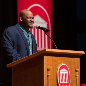 Kiese Laymon, the inaugural holder of the Hubert H. McAlexander Chair of English at UM, has been selected as a 2020-21 fellow at the Radcliff Institute for Advanced Study. Photo by Kevin Bain/Ole Miss Digital Imaging Services