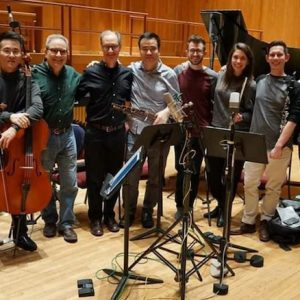 Members of chamber ensemble All of the Above pause for a photo during the recording of the 'Double Portrait' album. The group uncludes (from left) Scott Jackson, violin; Yijia Fang, cello; Edward Smaldone and Douglas Knehas, composers; Hu Jianging, sheng; Matthew Umphreys, piano; Nave Graham, flute; Mikey Arbulu, clarinet; David Abraham, percussion; and Adam Abeshouse, producer. Submitted photo