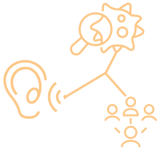 graphic with listening ear, viral study, and group of connected people