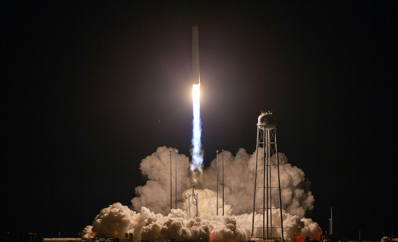 A Northrop Grumman Antares rocket launches Oct. 2 from NASA's Wallops Flight Facility in Virginia. The resupply mission to the International Space Station included in its payload bacteria grown at UM that is part of biology professor Patrick Curtis' research into bacteria growth in weak gravity. Photo courtesy NASA/Patrick Black