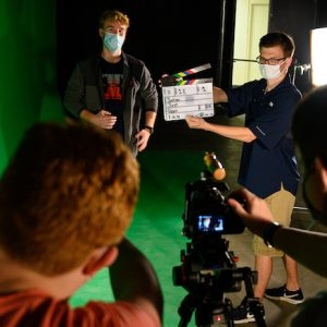 Students prepare to shoot a scene in the university's new South Oxford Center film complex on South Lamar Boulevard. The $1.5 million facility has helped the Department of Theatre and Film add hands-on opportunities for students to gain professional experience in its bachelor's program in film production. Photo by Robert Jordan/Ole Miss Digital Imaging Services