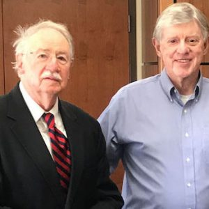 Honorees (from left) Vaughn Grisham and John Winkle are pictured at the Sally McDonnell Barksdale Honors College with Dean Doug Sullivan-Gonzalez.