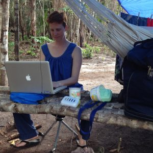 Lainy Day sets up an office in her camp at St. Cuthbert's, Guyana, on a research trip in 2013 to connect and help students back in Oxford at the University of Mississippi. Submitted photo