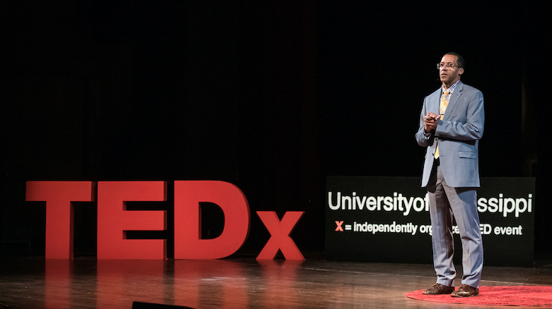 UM political science professor Marvin King speaks at the 2019 TEDxUniversityOfMississippi event. Photo by Megan Wolfe/Ole Miss Digital Imaging Services