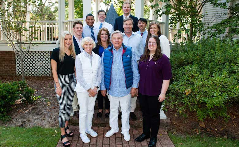 Cathy and Al Annexstad (front row, second and third from left) along with Karen and Tom Annexstad and Elin Wahman of the Annexstad Family Foundation (second row, second, third and fourth from left) joined their UM Leaders for Tomorrow honors scholars for a campus reception on Oct. 4, 2019. The Annexstad Foundation has provided more than $230,000 for student scholarships since 2015.