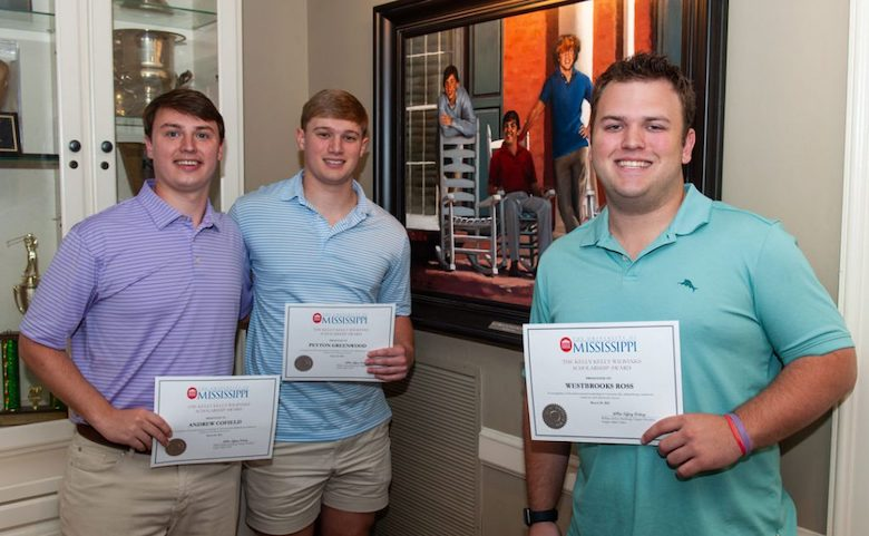 Andrew Cofield, Peyton Greenwood and Westbrooks Ross are the 2021 recipients of the Charles Walker Kelly, Samuel Clayton Kelly and Bryant Mason Wilbanks Memorial Scholarship Endowment, honoring the three friends depicted in the portrait on the wall.