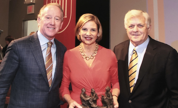 Olivia Manning (center) with husband Archie Manning (left) and UM Chancellor Emeritus Robert Khayat. Submitted photo