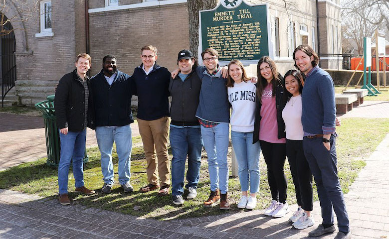 Several members of the Ole Miss First Scholarship program visit the Emmett Till Interpretive Center in Sumner, Mississippi. Among those participating in the field trip are (from left) Daniel Reed, OMF graduate assistant, Benjamin Saulsberry, museum director of the Interpretive Center, six OMF scholars – Edward Puckett, Haley Morgan, John Michael Walker, Katie Davis, Sarah Amitin and Francesca Patawaran – and Patrick Weems, executive director of the Emmett Till Interpretive Center.