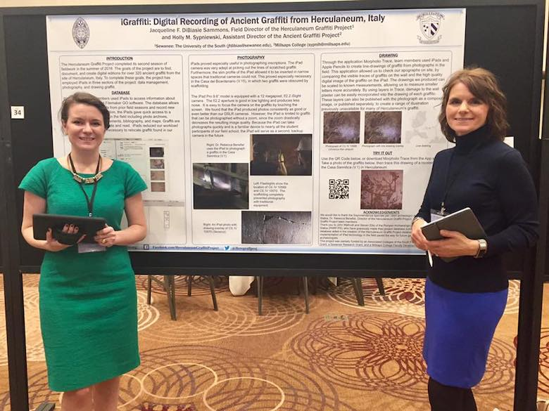 Dr. DiBiasie-Sammons presents a poster with Dr. Holly Sypniewski (Professor of Classics at Millsaps College) at the Annual Meeting of the Archaeological Institute of America.