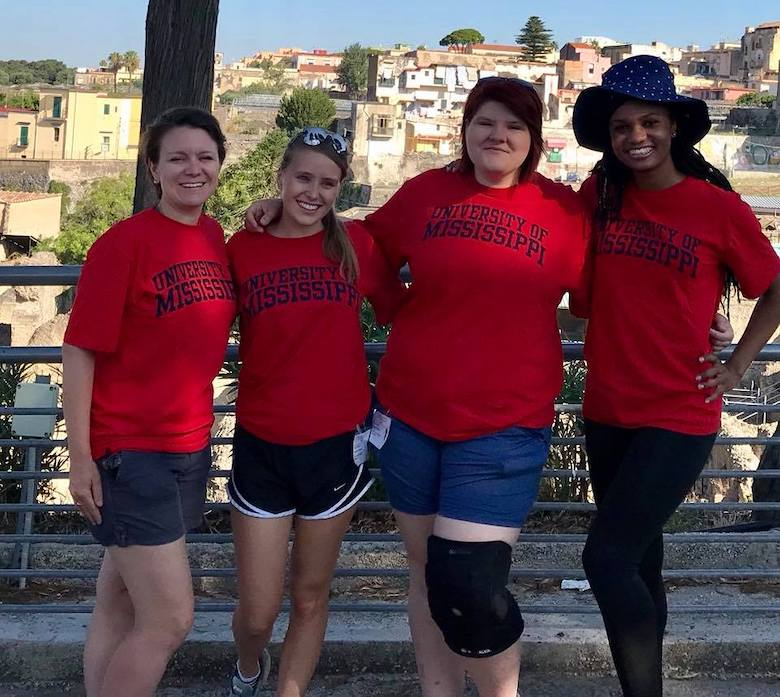 Dr. DiBiasie-Sammons and Classics students in ancient Herculaneum as part of the Ancient Graffiti Project.
