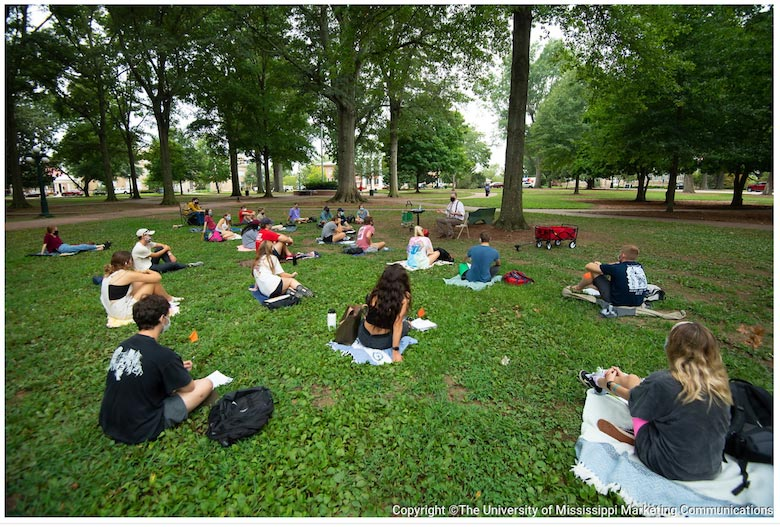 Neil Manson, professor of philosophy, holds class in the Circle. Photo by Kevin Bain/The University of Mississippi Marketing Communications