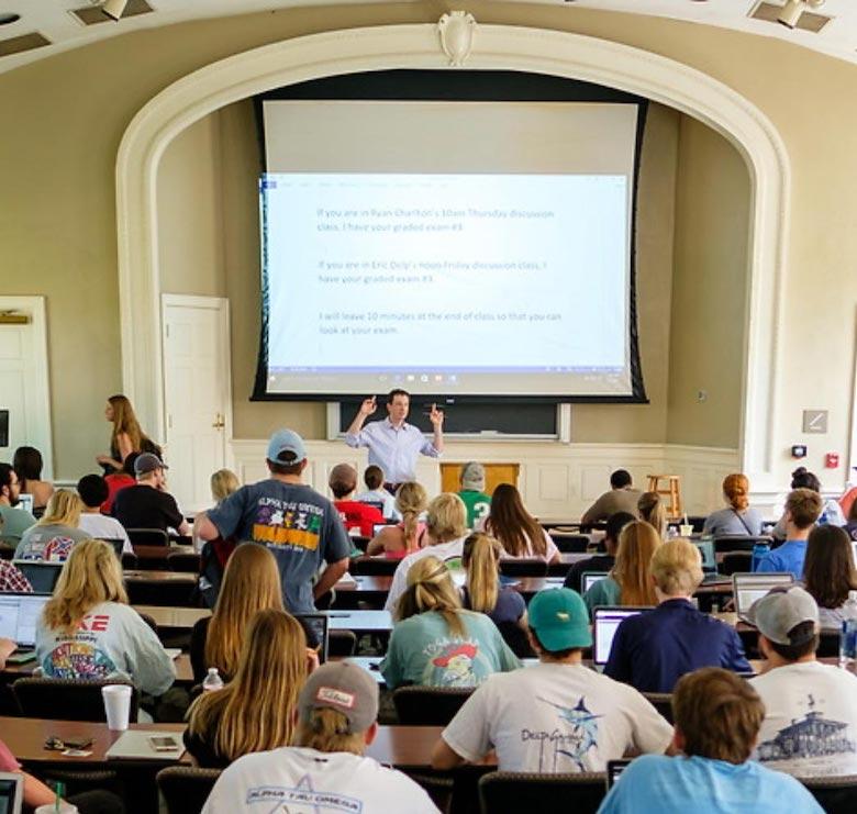 Professor Solinger teaching a class in Bondurant Hall.