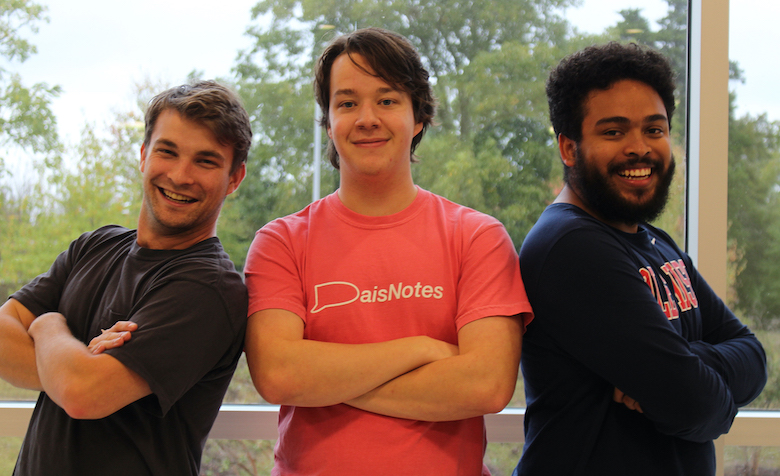 Recent UM graduates Kyle Hebert (left), Nicholas Neilson-Slabach and Thomas Lee are working on a social media app called DaisNotes, a new connection tool made for college campuses. They recently received $10,000 from the Mississippi Seed Fund to develop the app, which is being used this fall at about 20 universities. Submitted photo