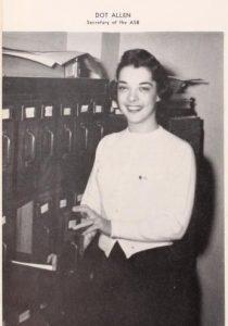 Dorothy Allen Halliday in the 1956 yearbook.