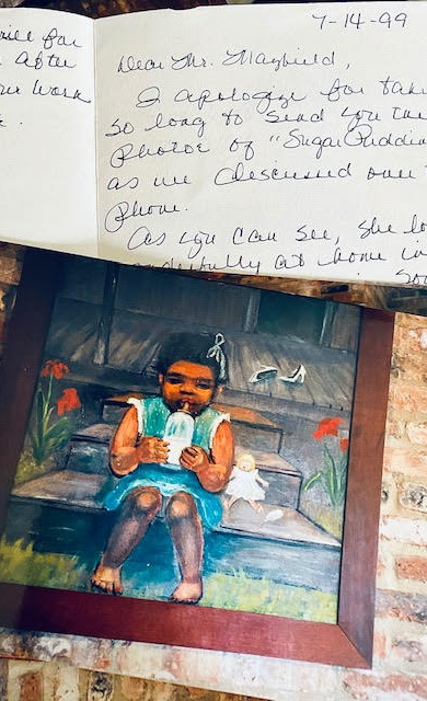 A photograph of one of M.B. Mayfield's paintings and a thank you note from the buyer are part of the Nowlin family's colelction that is part of the new museum in Ecru.