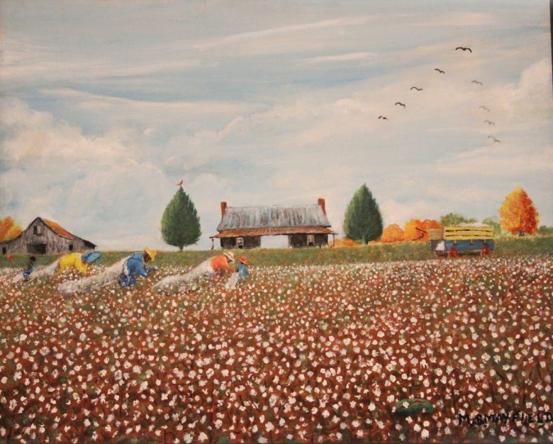 A painting by M.B. Mayfield shows workers picking cotton in a North Mississippi field.